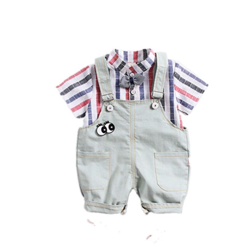 Aspiring Cool Summer Children Boys Girl Infant Clothes Stripe Shirt Strap Shorts 2pcs/sets Child Toddler Cotton Clothing Kids Tracksuits