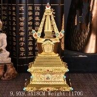 Buddha Tibet Tibetan Buddhist Mikky Gild Crystal Stupa Tower Divine Focus