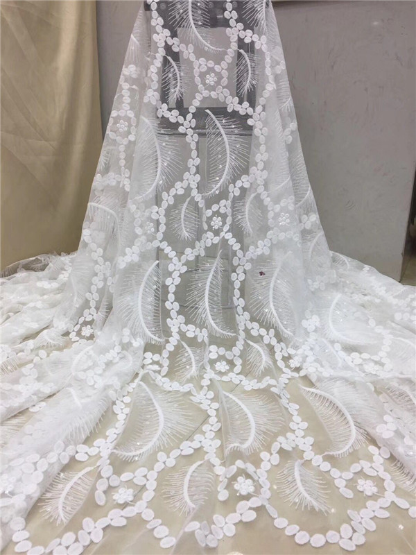 Beautiful white Color High Quality Nigerian Lace Fabrics For Wedding 2019 Latest African French Lace Fabric