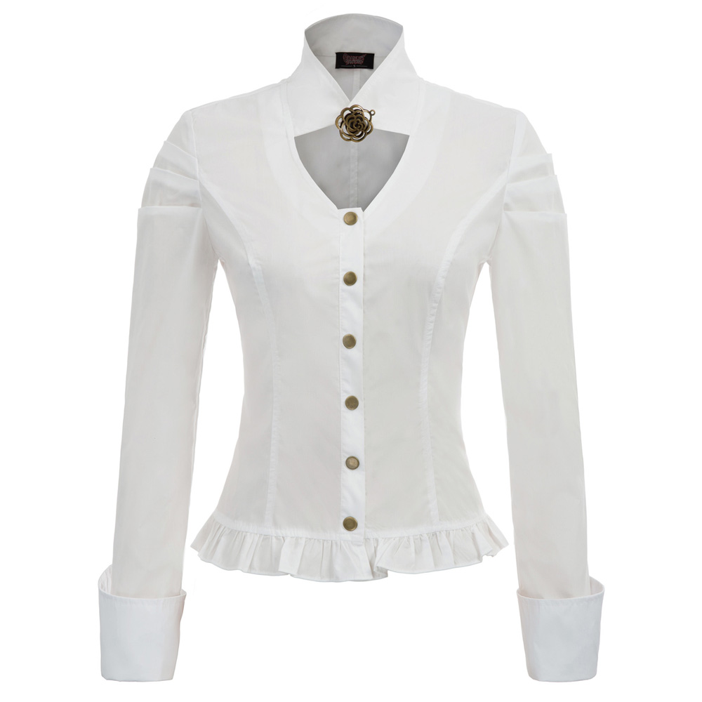 New Chemise Femme Ladies Women Tops Spring Fall Steampunk Long Sleeve Stand Collar Button Placket Frilled Hem Shirt Party Blouse