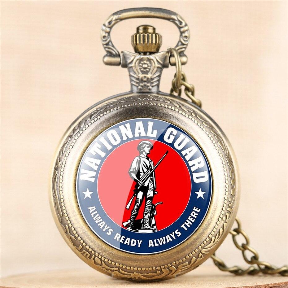 Retro National Guard Souvenir Quartz Pocket Watch Vintage Necklace Pendant Clock With Chain Steampunk Fob Watches For Men Women