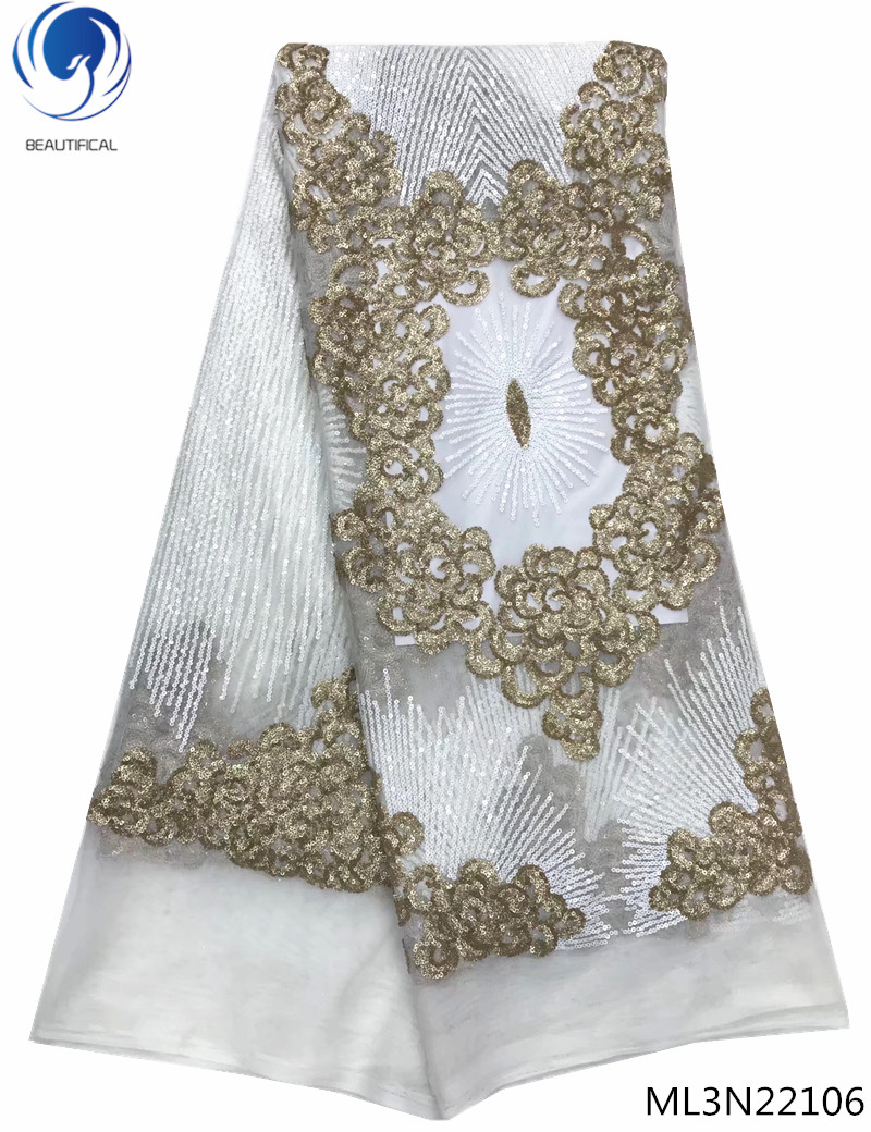 BEAUTIFICAL nigerian lace fabrics sequins lace white african french lace fabric 5yards per lot online free shipping ML3N221BEAUTIFICAL nigerian lace fabrics sequins lace white african french lace fabric 5yards per lot online free shipping ML3N221