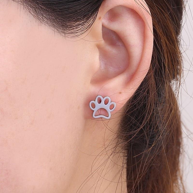 2019 Rose Gold Small Cut Animal Dog Pet Paw Print Stud Earrings Women Piercing Ear Jewelry In Stainless Steel Rose Gold Earing in Stud Earrings from Jewelry Accessories