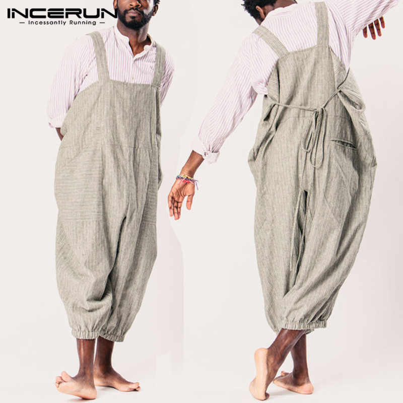 90d76345879 Cowboy Cool Men Jumpsuits Overalls Women Rompers Stripe Wide Leg Pants  Dungarees Casual Baggy Trouser Garment