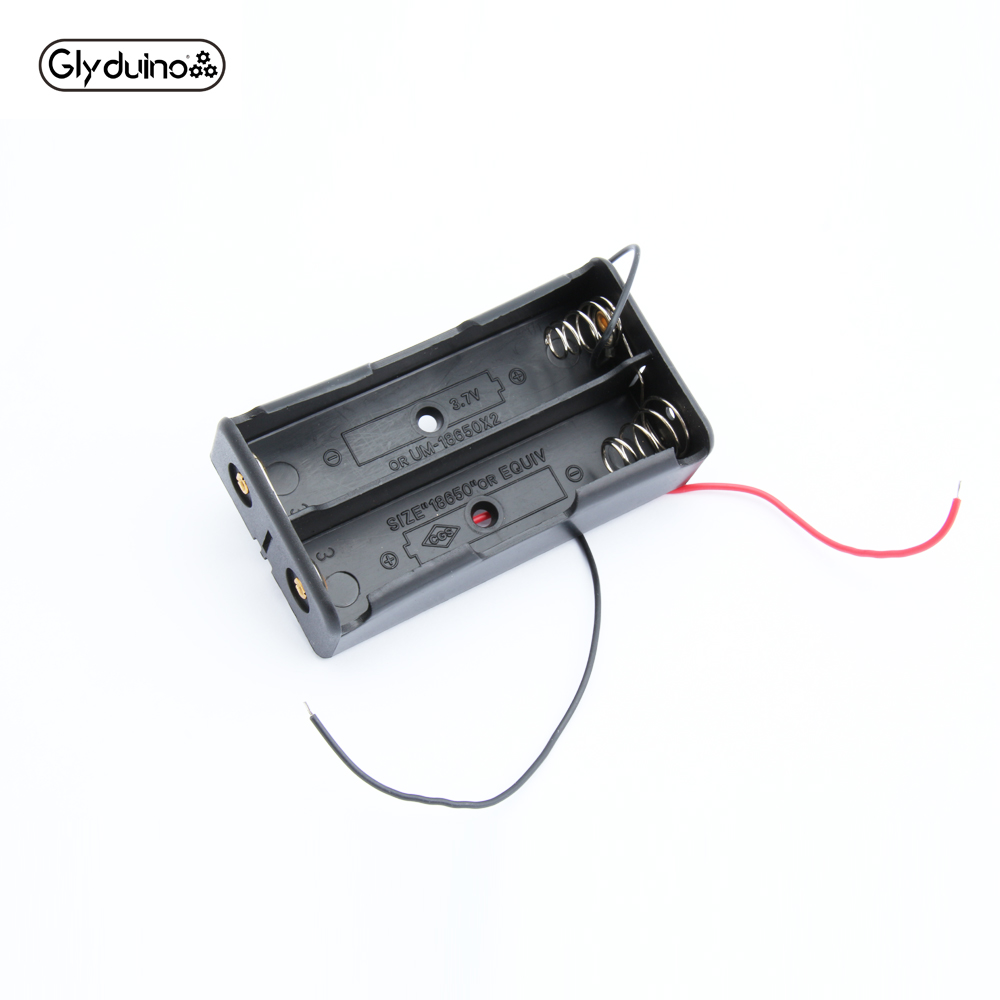 Glyduino 3.7v Multi-Slot 18650 2 Battery Clip Hard Base Case Holder In Parallel With Wire Leads Without Lid Sealed For Arduino