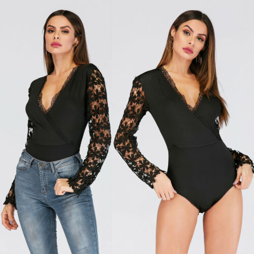 2019 New Women Long Sleeve Lace Bodysuit Top Elegant Shirt Sexy Top Blouse Clothes V Neck