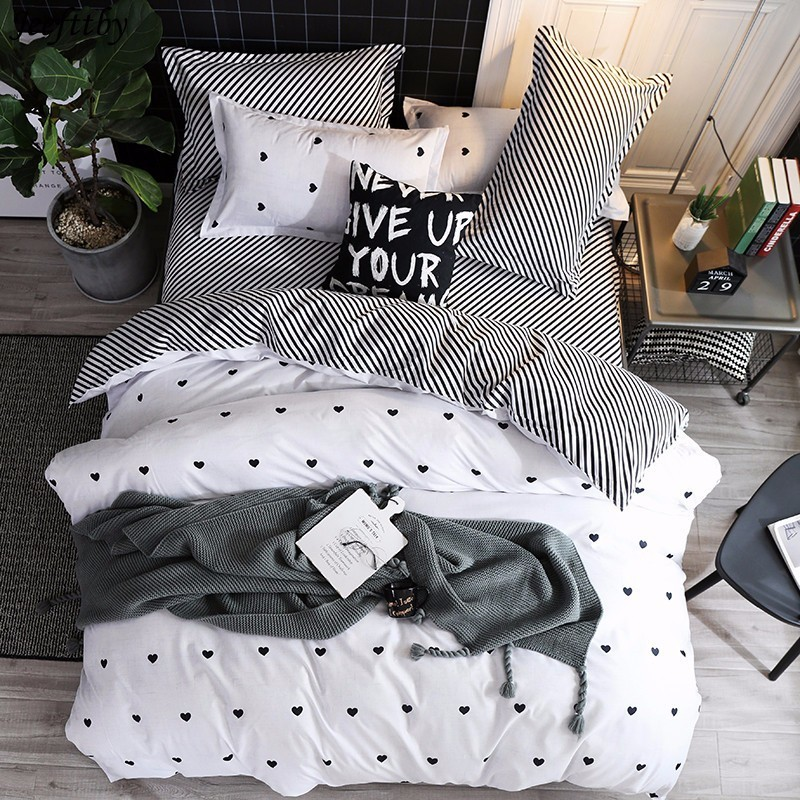 Black And White Bed Linen Set King Size Heart Printed Bedding Sets Ropa De Cama Y Edredones Queen Bed Cover Bedding 2/3pcs