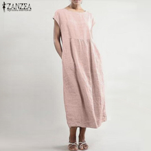2019 ZANZEA Summer Thin Cotton Linen Dress Women Elegant O Neck Short Sleeve Party Vestido Female Tunic Robe Long Sundress