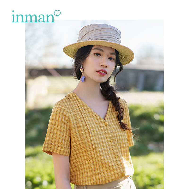 INMAN Summer V-neck Retro Plaid Literary Holiday Style Shost Sleeve Women Shirt