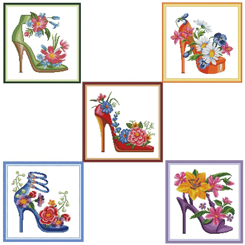 Cross Stitch Kits Cross Stitch Patterns Water Soluble Canvas Cross Stitch Flower DIY Needlework Fashion High Heels Home Decor