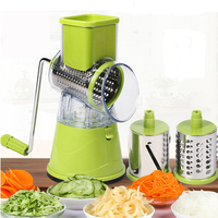 Manual Hand Speedy Safe Vegetables Chopper Cutter Multi function Food Slicer with 3 Cylindrical Stainless Steel Blades
