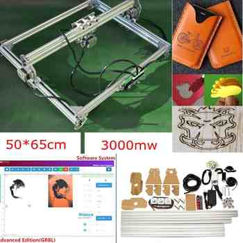 50*65cm Mini 3000MW Blue Laser Engraving Engraver Machine DC 12V DIY Desktop Wood Cutter/Printer/Power Adjustable+ Laser