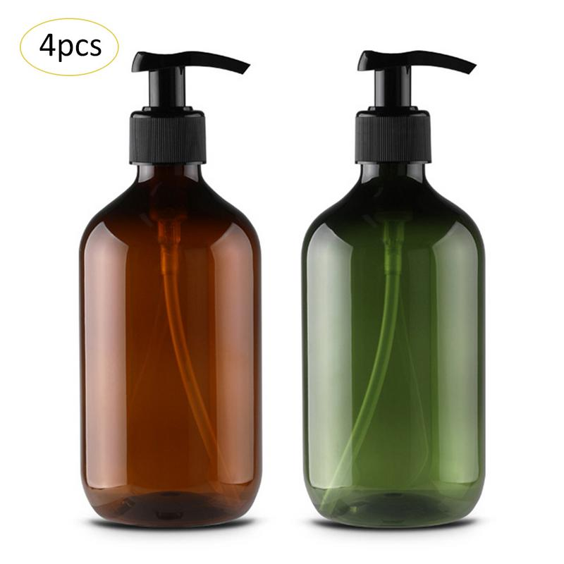 4PCS/Group 500ml PET Lotion Shampoo Hand Shower Gel Bottle Portable Soap Dispenser Empty Pump Bottle