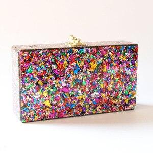 Image 2 - Цветная акриловая коробка, сумка через плечо с металлической застежкой, черная ткань, Женский брендовый пляжный летний акриловый кошелек