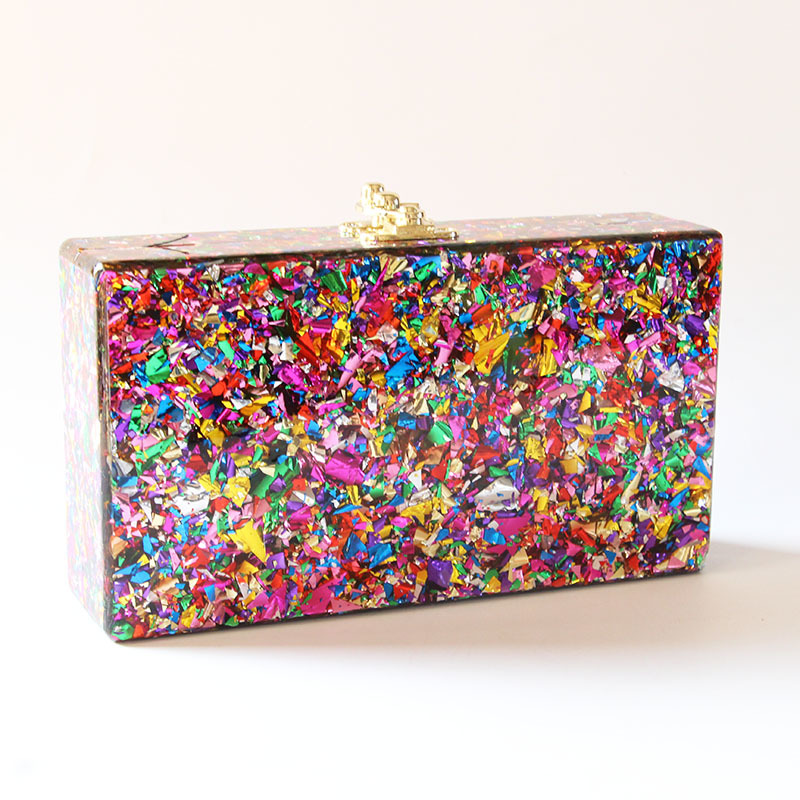 Image 2 - Colorful Acrylic Box Clutches Metal Clasp Black Fabric Shoulder Bags Women Lady Brand Beach Summer Acrylic Box Purse Wallet-in Shoulder Bags from Luggage & Bags