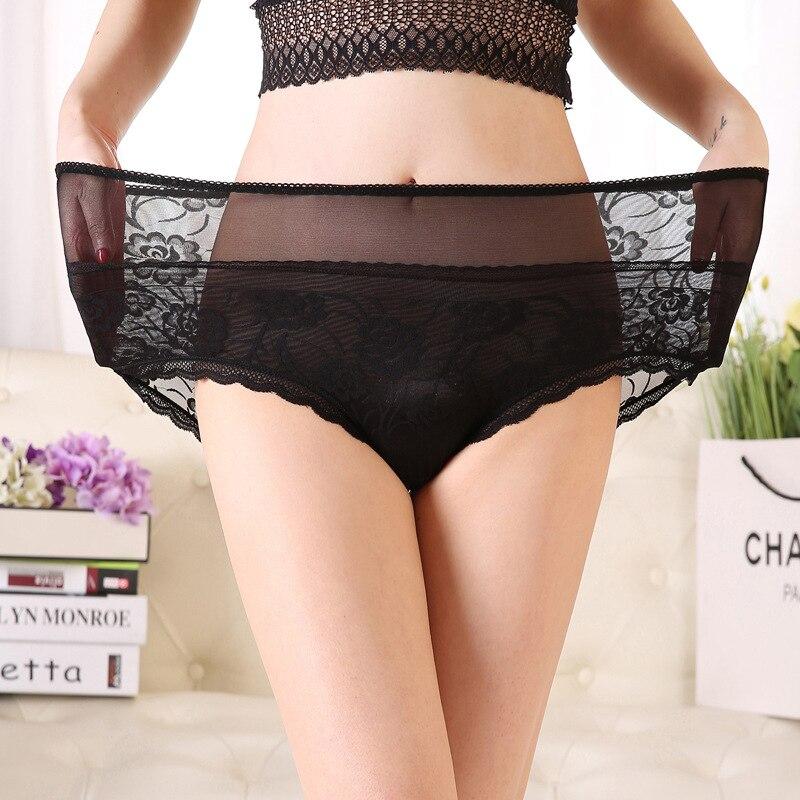 Culotte femme grandes tailles avec taille haute Sexy dentelle transparente culotte femmes grands slips grande taille sous-vêtements femme Xxxl XxxxL