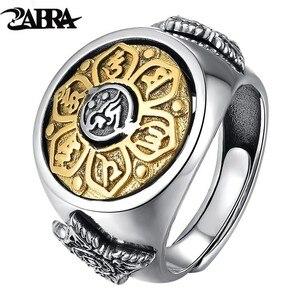 Image 1 - ZABRA 925 סטרלינג כסף ספין טבעת לגברים נשים פתוח גודל 2 אפשרויות בודהה שש מילות חותם טבעת בציר רוק תכשיטים