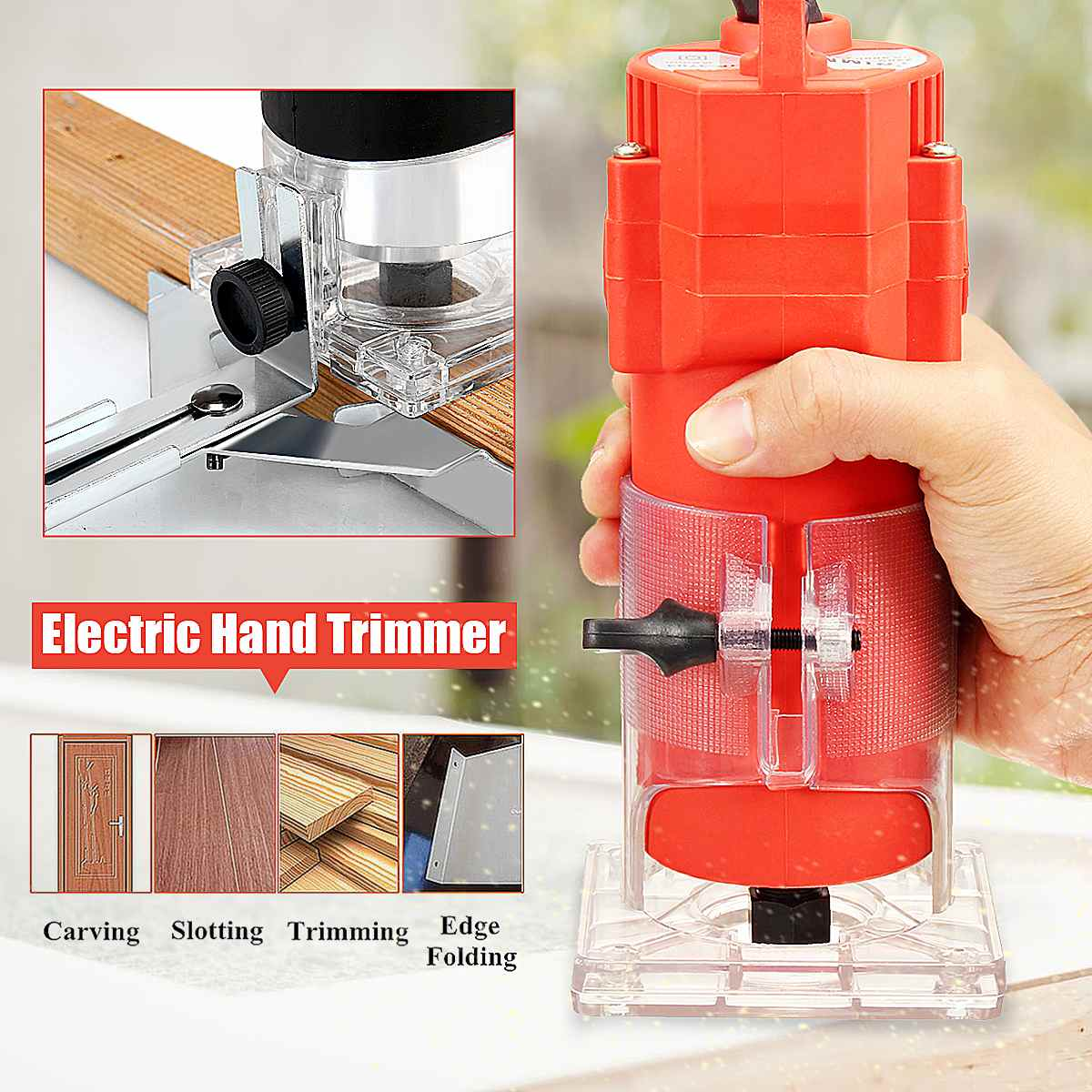 1/4 50HZ 220V 450W/1200W Corded Electric Hand Trimmer Wood Laminator Router Joiners Tools Transparent Base DIY Lift Knob1/4 50HZ 220V 450W/1200W Corded Electric Hand Trimmer Wood Laminator Router Joiners Tools Transparent Base DIY Lift Knob