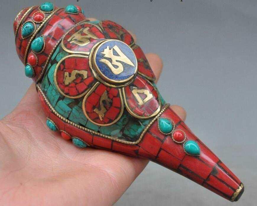 Verzamel Zeldzame Tibet Boeddhisme Brons Inlay Turquoise Koraal Schelp Trompet-in Beelden & Sculpturen van Huis & Tuin op  Groep 1