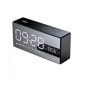 Dido X9 Rechargeable Mirror Led Display Volume And Bass Hi-Fi Wireless Bluetooth Speaker Fm Aux Alarm Clock - Black