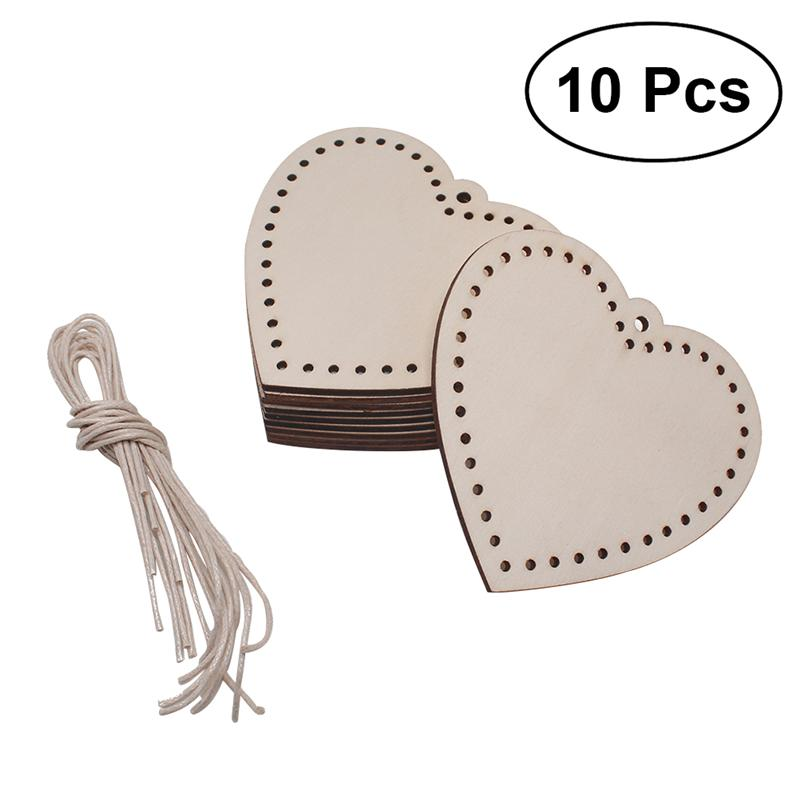 50pc Heart Wooden Slices With 50 Iron Loops Set For Birthday