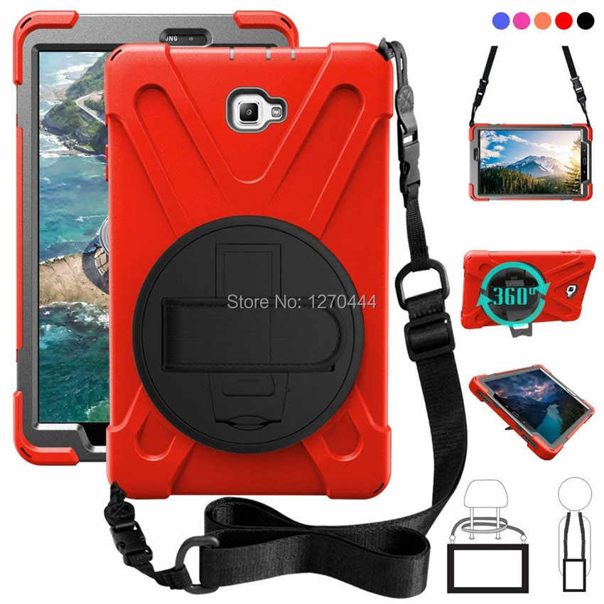 For Samsung Galaxy Tab A 10.1 SM-T580 T580N T585 T585C Rugged PC+Silicone hard Cover 360 Swivel Stand Handle Strap & Neck Strap
