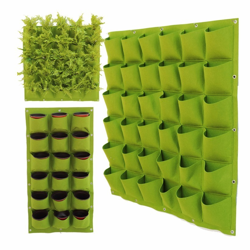 2/4/9/36/Pockets Wall Hanging Planting Bags Vertical Vegetable Garden Planting Bags Growing Pot Outdoor Plants Strawberry Bag