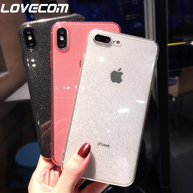 LOVECOM Luxury Glitter Transparent Cases For IPhone X XS Max XR 6 6S 7 8 Plus Plain Color