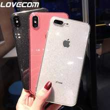 LOVECOM Luxury Glitter Transparent Case For iPhone 11 Pro Max X XS Max XR 6 6S 7 8 Plus Plain Color Soft TPU Phone Back Cover(China)