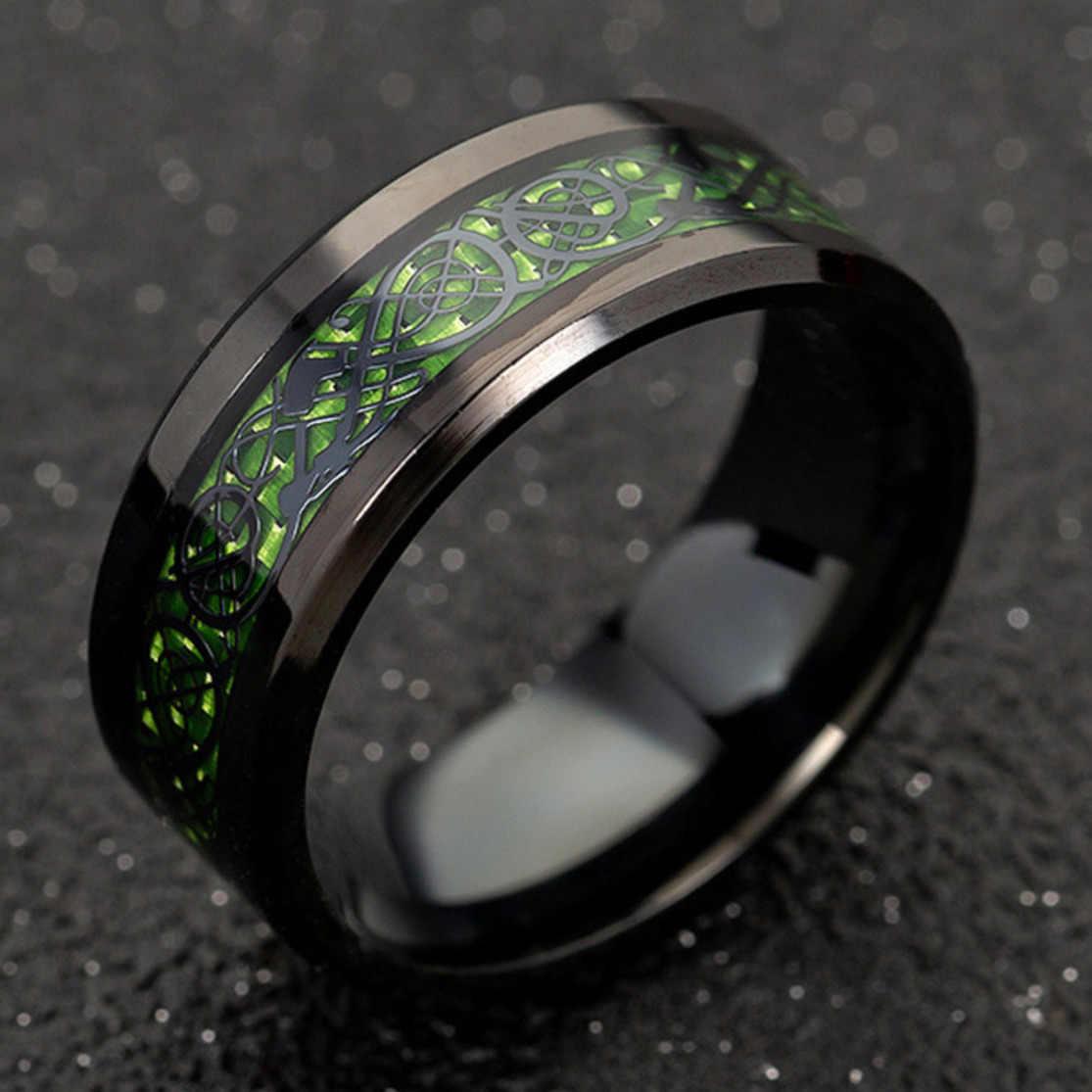 8mm הדרקון גברים של שחור אדום ופחמן סיבי נירוסטה ירוק מסיבת טבעת לנוחות Fit חתונה טבעות להקת גברים אביזרים