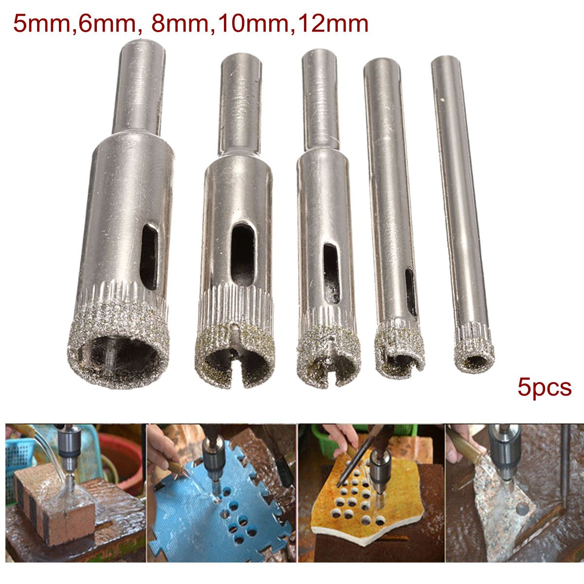5Pcs 5mm-12mm Electroplate Diamond Coated Cutter Hole Saw Tool Set For Glass Marble Tile Granite Drill Bits Tools