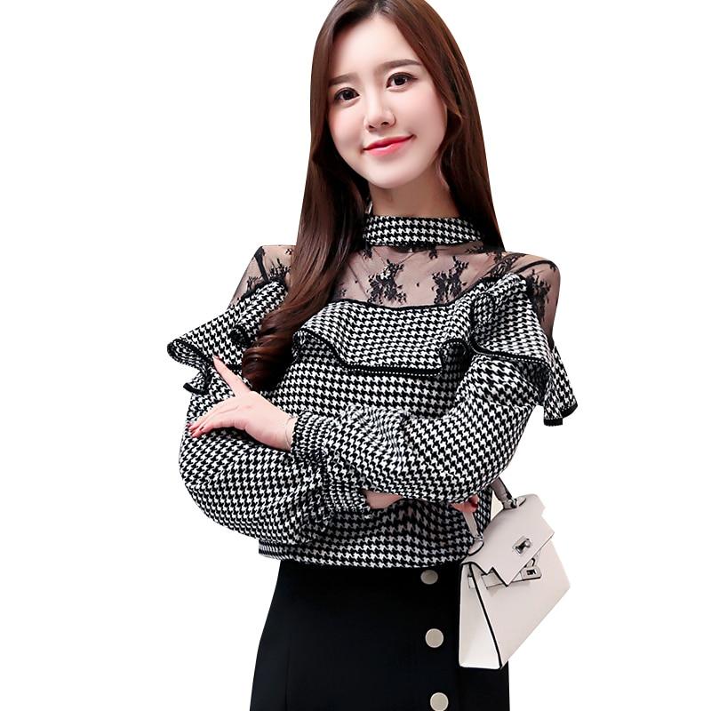 Novo 2019 Moda Primavera Mulheres Camisas Completo Manga O Pescoço Fino Chiffon Rendas Lado Fungo Blusa Preto E Branco 8086