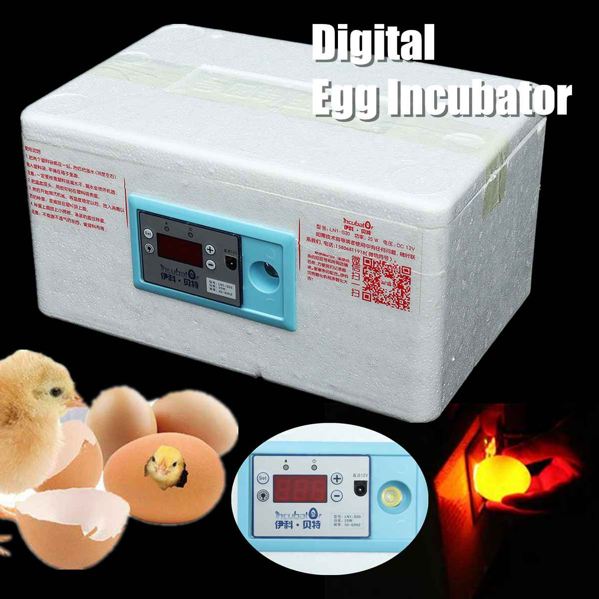 20 Position Automatic Digital Family Eggs Incubator Chicken Poultry Hatcher Foam Home Waterbed Incubator Farm Incubation Tools
