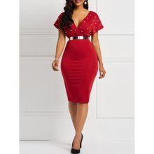 4e13211fd المرأة مثير فساتين متوسطة الطول عارضة أنيقة الأحمر OL Bodycon عادي حبة  الإناث الأزياء نادي حزب