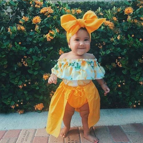 >3Pcs Kids Baby Girl Off Shoulder Shirt <font><b>Blouse</b></font> <font><b>Shorts</b></font> <font><b>Pants</b></font> Dress Clothes Outfits