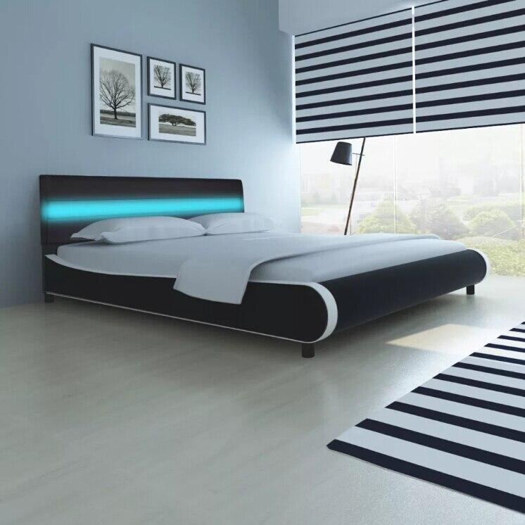 VidaXL 180 Cm moderne en cuir synthétique lit cadre de lit lits souples avec tête de lit LED bande mémoire matelas maison chambre meubles