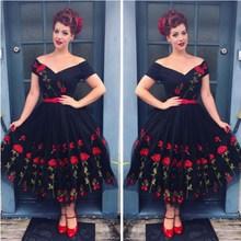 цена на Women Vintage Off Shoulder Mesh Lace Midi Dress Retro Prom Floral Rockabilly Big Swing Party Dress Elegant Embroidery Rose Dress