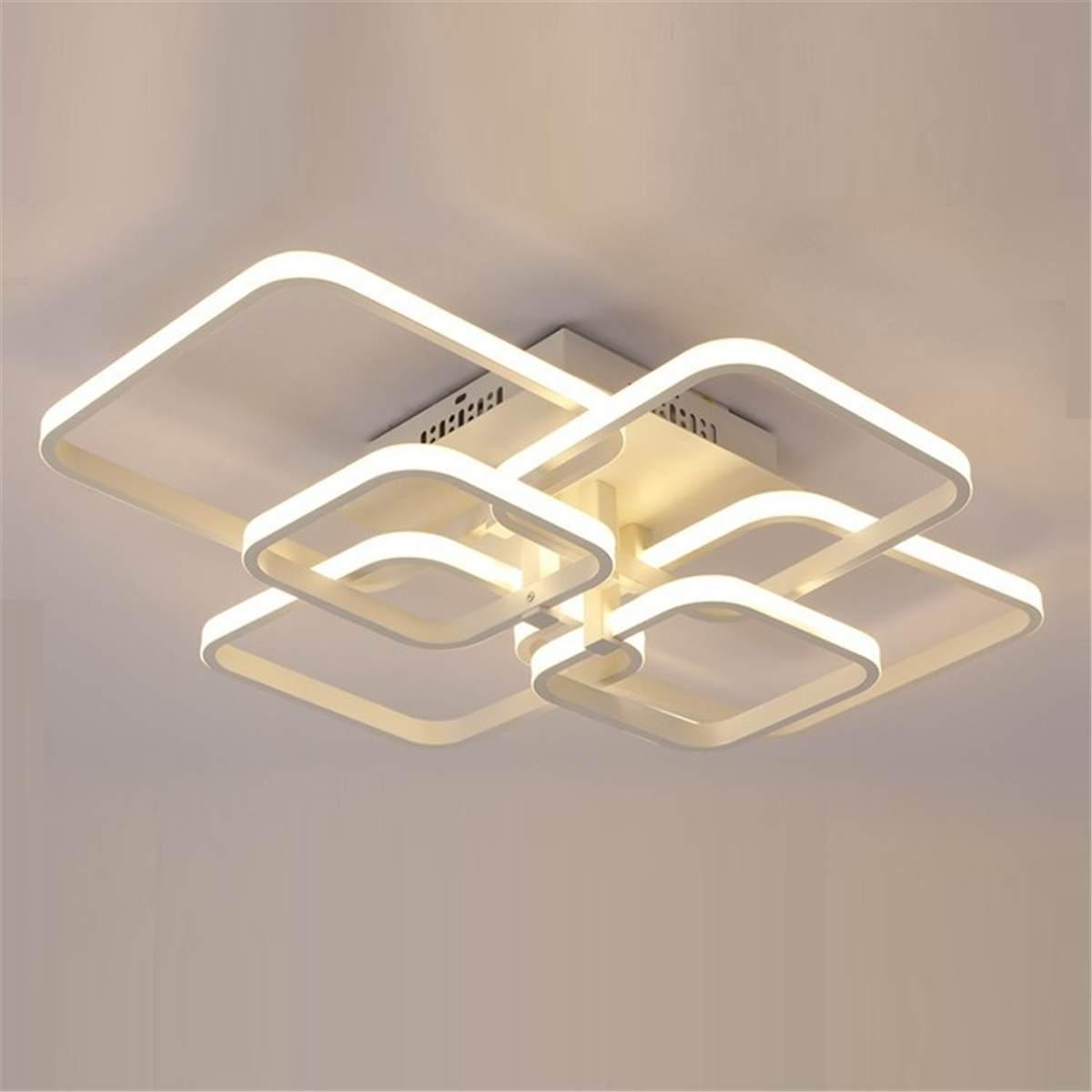 6 têtes Rectangle acrylique aluminium plafond moderne à LEDs lumières pour salon chambre hôtel Restaurant décor 110 W