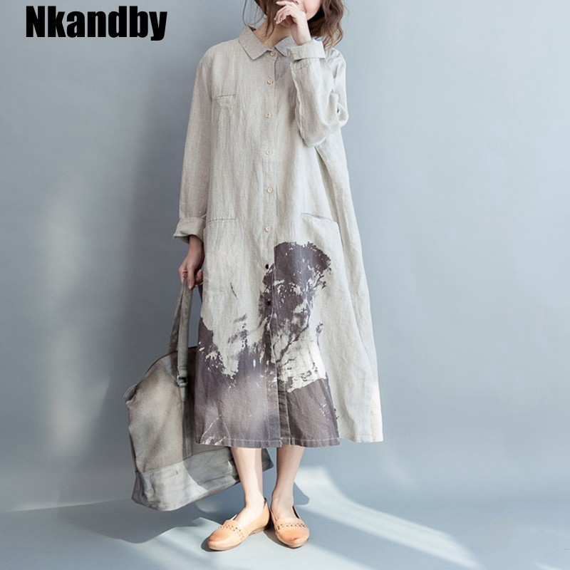 Learned Nkandby Chinese Style Plus Size Women Long Blouse Autumn Loose Casual Vintage Cotton Linen Oversized Print Shirts Female Tops Good For Antipyretic And Throat Soother Blouses & Shirts