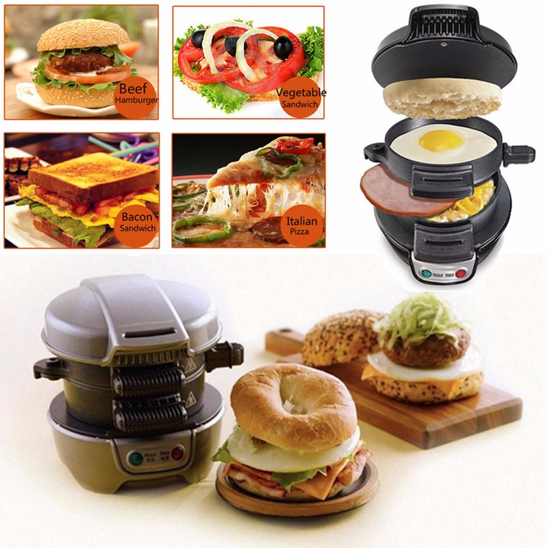 Electric Egg Sandwich Maker Mini Gril Pancake Panini Baking Plates Toaster Multifunction Non-Stick Hamburger Breakfast Machine