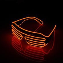 лучшая цена Special Shutter Light Up EL Wire Eye-wear Glasses Glowing Shades Holiday For Party Bar Neon LED Strip Light Battery Powered