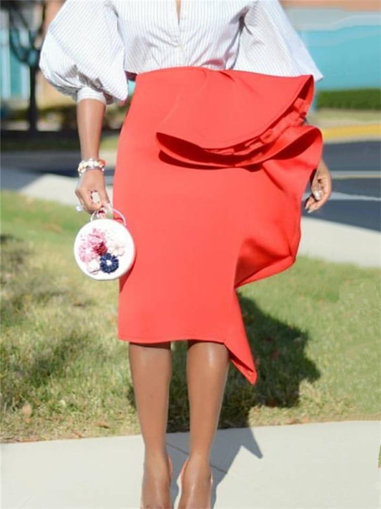2020 Women Pencil Skirt High Waist Ruffles Slim Classy Female Package Hip Tight Jupes Falad Officewear Elegant Femme New Fashion