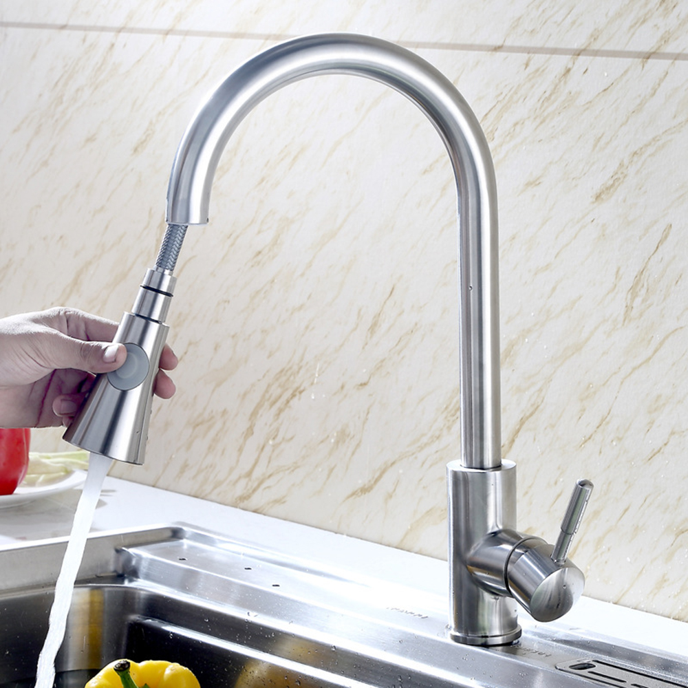 Silver Spring Kitchen Faucet Pull out Side Sprayer Dual Spout Single Handle Mixer Tap Sink Faucet 360 Rotation Kitchen FaucetsSilver Spring Kitchen Faucet Pull out Side Sprayer Dual Spout Single Handle Mixer Tap Sink Faucet 360 Rotation Kitchen Faucets