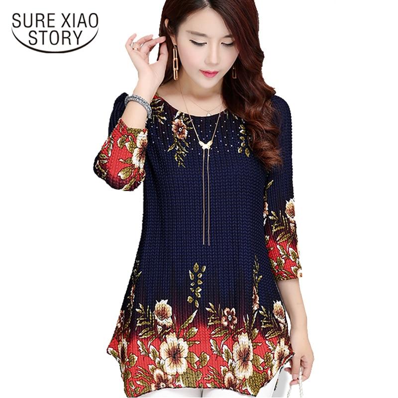 2018 New Arrival Fashion Long Summer Three Quarter Slim Chiffon   Shirt   Female Casual Slim Color Plus Size Printed   Blouse   993D 30