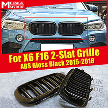 1 Pair X6 F16 Front Grille ABS Material Gloss Black For X6 F16 X5 F15 Double Line Slats Front Kidney Grille Decoration 2015-2018 цена 2017