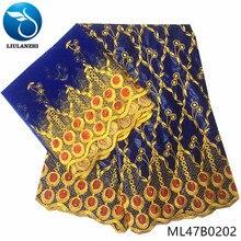 LIULANZH bazin riche embroidery fabric cotton getzner for dresses latest design 2019 african ML47B02