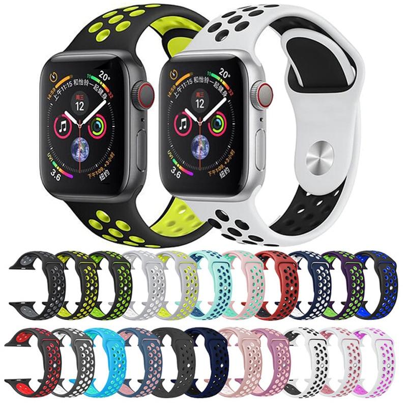 Ejecución Permanentemente En detalle  Correa de silicona deportiva para Nike apple watch series 4/3/2/1 42mm 38mm  pulsera de goma adaptador 40mm 44mm para iwatch band|Correas de reloj| -  AliExpress
