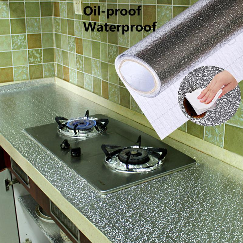40x100cm Kitchen Oil-proof Waterproof Stickers Aluminum Foil Kitchen Stove Cabinet Self Adhesive Wall Sticker DIY Wallpaper(China)