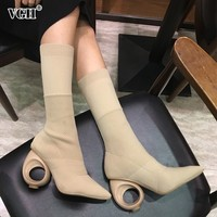 VGH Elastic Knitted PU Leather Sock For Women With Shoes Hollow Plus Size Spring Personality Shoes Fashion Clothing Accessories