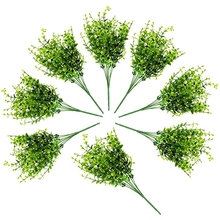 Hot Sale Artificial Shrubs (8-Pack); Faux Plastic Leafy Green Imitation Boxwood Plants for Decorating Indoor Outdoor